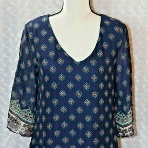 Poetry Womens Navy Print Dress Size Small